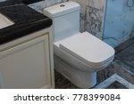white toilet bowl in the...   Shutterstock . vector #778399084