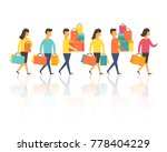 shopping people  man and woman... | Shutterstock .eps vector #778404229