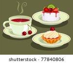 tea and  cake | Shutterstock .eps vector #77840806