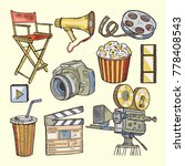 set of colored objects on the... | Shutterstock . vector #778408543