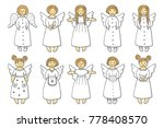 set of colored angel icons | Shutterstock . vector #778408570