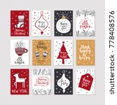 set of christmas posters | Shutterstock . vector #778408576