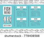 fish menu of the restaurant.... | Shutterstock . vector #778408588