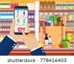 hand holding smartphone with... | Shutterstock .eps vector #778416403