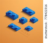 blue 3d lego element. 3d... | Shutterstock .eps vector #778422316
