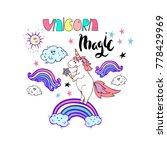 cute magic unicorn poster ...   Shutterstock .eps vector #778429969