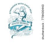 Healthy Mermaid Fitness Emblem
