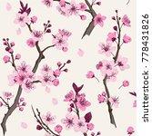 sakura. seamless pattern. pink... | Shutterstock .eps vector #778431826