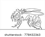 the honey bee   continuous line ... | Shutterstock .eps vector #778432363