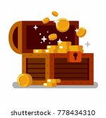 wooden treasure chest full of... | Shutterstock .eps vector #778434310