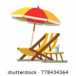 deckchair and umbrella on the...   Shutterstock .eps vector #778434364
