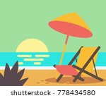 wooden beach chair on beach.... | Shutterstock .eps vector #778434580
