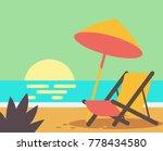 wooden beach chair on beach.... | Shutterstock .eps vector #778434580