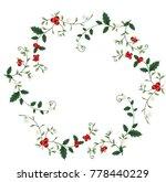 wreath of holly and mistletoe | Shutterstock .eps vector #778440229
