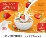oatmeal and strawberry. oat... | Shutterstock .eps vector #778441723