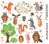 a set of cute animals on a... | Shutterstock . vector #778463560
