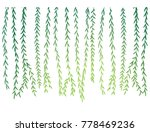 Willow branch object. Sunlight passes through the willow branches. Vector illustration.