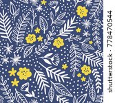 floral pattern in doodle style. ... | Shutterstock .eps vector #778470544