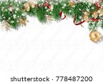 christmas white background with ... | Shutterstock . vector #778487200