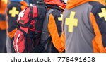 first aid ski patrol with... | Shutterstock . vector #778491658