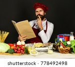 bearded chef man prepares meals ... | Shutterstock . vector #778492498
