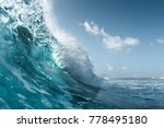 Small photo of Perfect ocean wave breaking on the shore. Surfspot named Jailbreak, Maldives