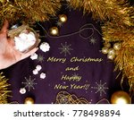a woman's hand holds a jar of...   Shutterstock . vector #778498894