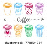 paper coffee cups illustration... | Shutterstock .eps vector #778504789