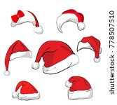 set of 7 red caps with white... | Shutterstock .eps vector #778507510