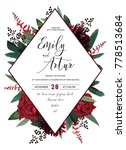 wedding vector floral invite ... | Shutterstock .eps vector #778513684