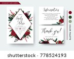Stock vector wedding invite invitation save the date thank you information cards set vector watercolor floral 778524193