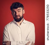 thinking grimacing bearded fun... | Shutterstock . vector #778533250