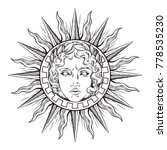 hand drawn antique style sun... | Shutterstock .eps vector #778535230