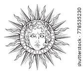 hand drawn antique style sun... | Shutterstock .eps vector #778535230