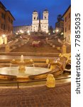 "Spanish Steps and ""Trinità dei Monti"" in Rome, Italy, at dusk - stock photo"