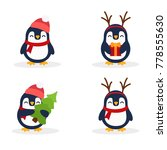 Cute Penguins Set. Penguin Wit...