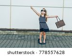 cute blonde girl in shoes... | Shutterstock . vector #778557628