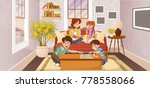 happy cartoon family in the... | Shutterstock .eps vector #778558066