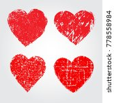 grunge heart icons.red hearts... | Shutterstock .eps vector #778558984