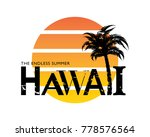 hawaii typography  palm tree...