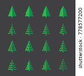 christmas tree flat icons eps10 | Shutterstock .eps vector #778577200