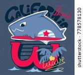 funny cartoon shark surfer with ... | Shutterstock .eps vector #778578130