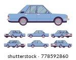 blue sedan set. saloon type of...   Shutterstock .eps vector #778592860