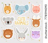 cute set of cartoon animals... | Shutterstock .eps vector #778594090