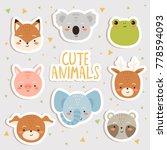 cute set of cartoon animals...   Shutterstock .eps vector #778594093