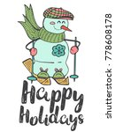 hand drawn winter poster with... | Shutterstock .eps vector #778608178
