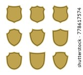 shield shape gold icons set....