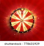 Stock vector symbol of spinning fortune wheel in realistic style shiny lucky roulette for your design on red 778631929