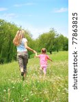 mother and daughter walking on... | Shutterstock . vector #77863825