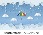 origami made rainy weather... | Shutterstock .eps vector #778644070